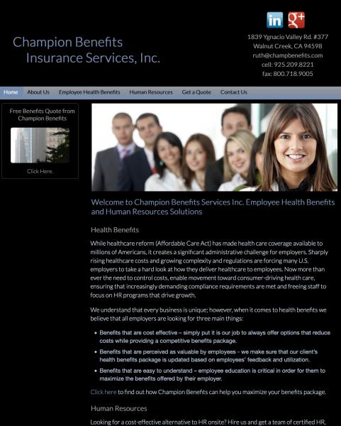 Champion Benefits Insurance website image and link