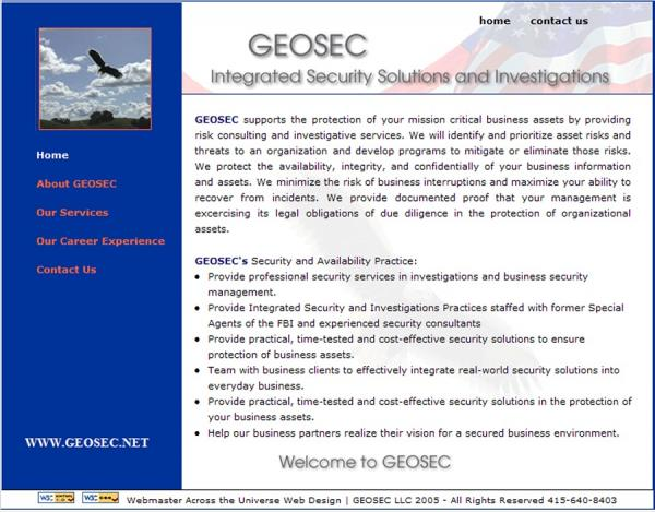 Geosec Security Website image  and link
