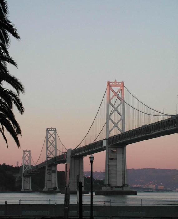 Pink! Sunset on Bay Bridge - San Francisco